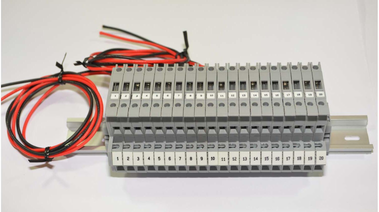 Altech DDFL4U-A20 Double Level Fused DIN Rail Terminal Block Assembly - 20  Position