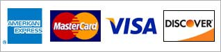 Credit Cards Accepted - AMEX, MC, Visa, Discover